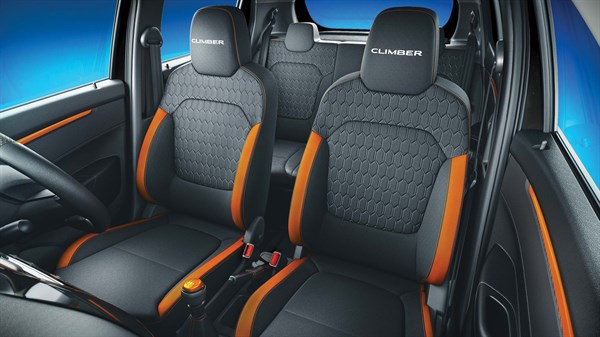 Premium contoured seats with integrated headrests